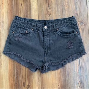 Divided Black Distressed Jean Shorts Size 8